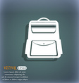 School Backpack icon On the blue-green abstract vector image