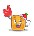 Waffle character cartoon design with foam finger vector image