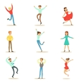 People Overwhelmed Of Happiness And Joyfully vector image
