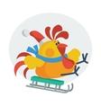 Rooster Bird Skate on Sledge Cock in Santa s Hat vector image