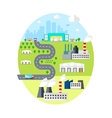 Urban Landscape - with City Factories Warehouses vector image