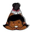 black little girl lying character vector image