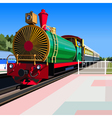 bright vintage steam locomotive standing vector image