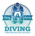 color diving club emblem or logo vector image