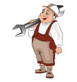 fat repairman carrying a spanner vector image