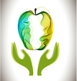 Green abstract apple and hands vector image