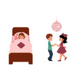 kids in summer camp sleeping and dancing at disco vector image