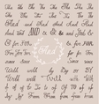 Set hand lettered ampersands and catchwords with vector image