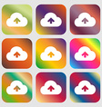 Upload from cloud icon Nine buttons with bright vector image