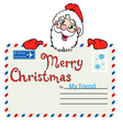 Santa Claus holds a mailing envelope with seal vector image vector image