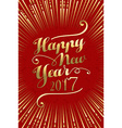 Happy New Year 2017 gold lettering card background vector image