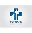 veterinary cross flat logo animal icon symbol vector image