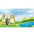 Cartoon Golfing Turtles vector image vector image