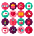 Happy Valentines Day Flat Icons vector image