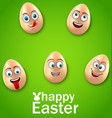 happy easter card with crazy eggs positive vector image