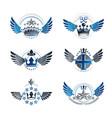 royal crowns and ancient stars emblems set vector image