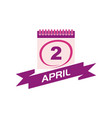 2 april calendar with ribbon vector image