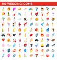 100 wedding icons set isometric 3d style vector image