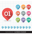 Numbers Pin Marker Flat Icons Set for GPS or Map vector image vector image