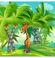 Childrens of the jungle with a giraffe vector image vector image