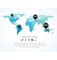 blue triangle world map with tags points vector image