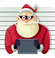 bad santa police mugshot cartoon vector image