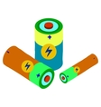Cartoon battery flat icons set vector image
