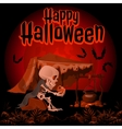 The skeleton talking with pumpkin vector image
