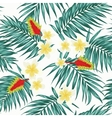 Tropical leaves and flowers seamless pattern vector image