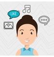 woman speak bubble music vector image