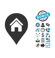 Realty Map Marker Flat Icon with Bonus vector image