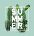 vintage tropical summer cactus graphic design vector image