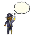 cartoon pirate captain with thought bubble vector image