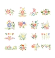 Flowers Icon Set in Trendy Flat Style vector image