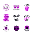 Summer typography sticker set Summertime vintage vector image