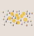 crowd people hype together crypto-currency coin vector image