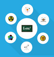 flat icon study set of electrical engine theory vector image