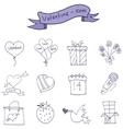 Icons of valentine day romance theme vector image