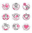 peace outline pink icons love world freedom vector image
