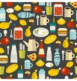 Seamless pattern with different food and drinks vector image