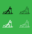 skier icon black and white color set vector image
