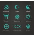World religion symbols cyan color vector image