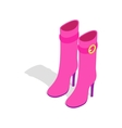 Female pink high boots icon isometric 3d style vector image