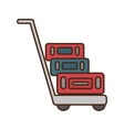 suitcases transport cart isolated icon vector image