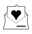 sketch silhouette image envelope mail with heart vector image