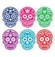 Mexican sugar skull Dia de los Muertos color icon vector image