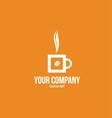 Hot coffee cup logo bean vector image