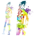 trendy look girl with color splashes vector image