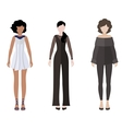 Three women flat style icon people figures vector image