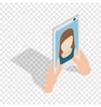 girl taking selfie photo on smartphone isometric vector image